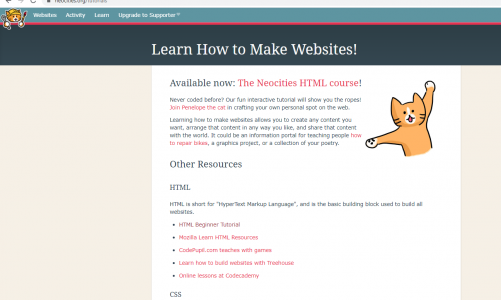 Easy website to start coding neocities.org