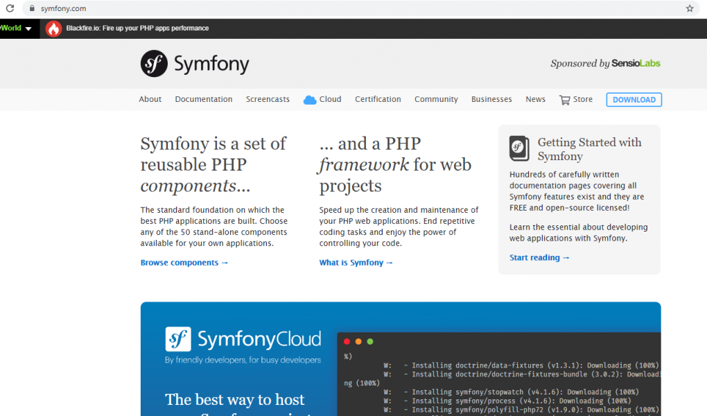 Website project using Symfony Components